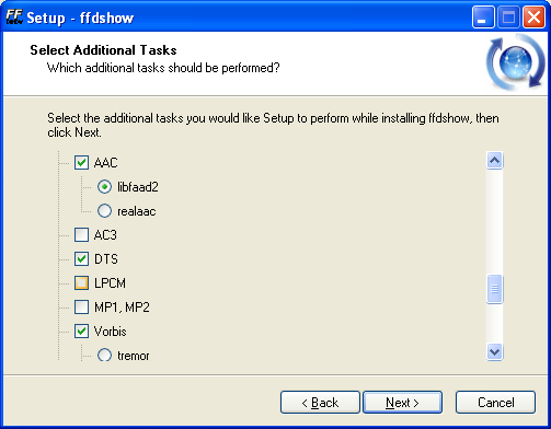 FFDShow, opciones