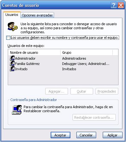 Cuentas de usuario en Windows