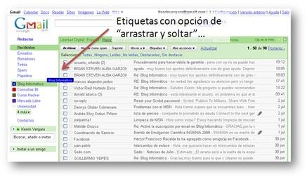 Etiquetas de Gmail - Arrastrar y soltar