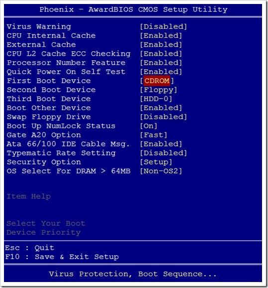 Escoger secuencia de arranque en Award Modular BIOS