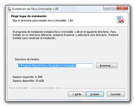 Revo Uninstaller - Iniciar proceso de instalación