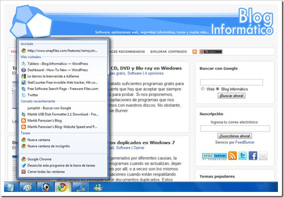 JumpList en Google Chrome