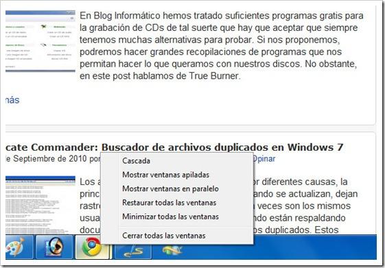 Viejo menú contextual en barra de tareas de Windows 7