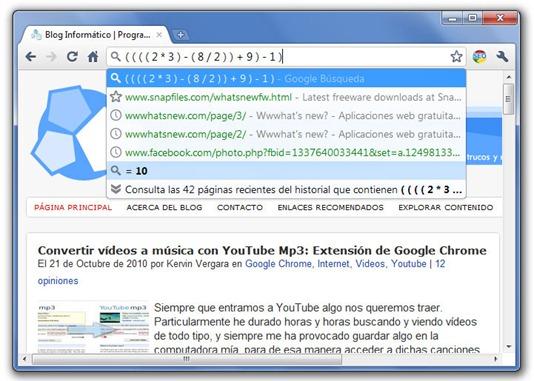 Calculadora en Google Chrome Truco