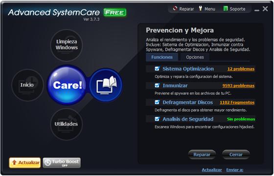 Optimización de Windows 7 - Advanced SystemCare