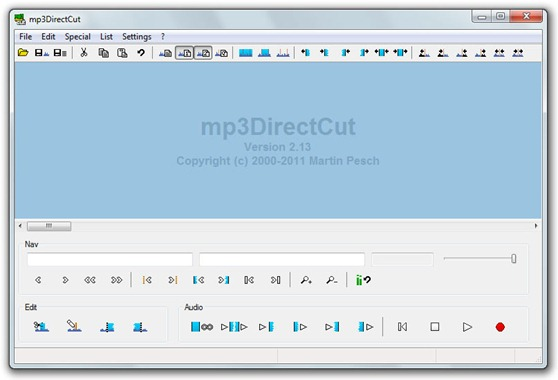 mp3DirectCut - Interfaz del software