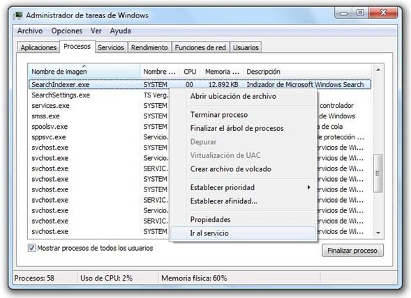 SearchIndexer.exe en el administrador de tareas