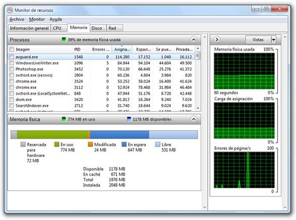 Monitor de recursos - Windows 7, Vista