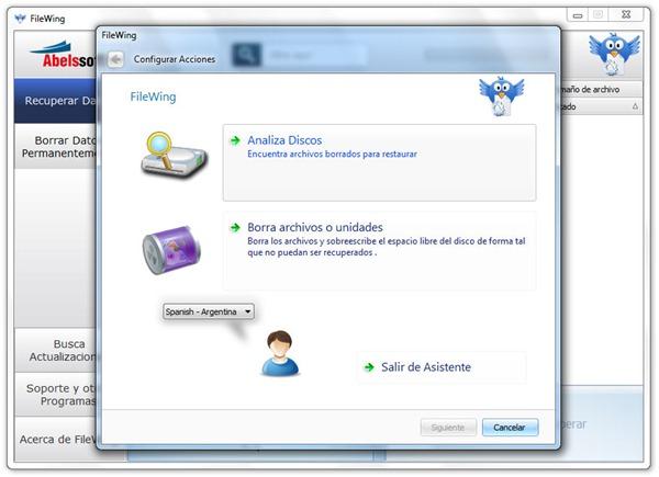 FileWing - Pantalla principal