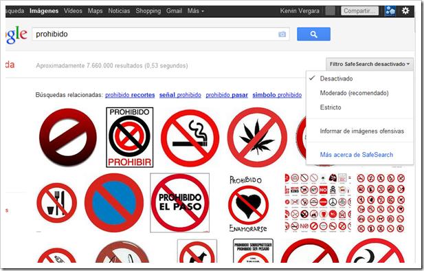 Filtro SafeSearch en Google Imágenes