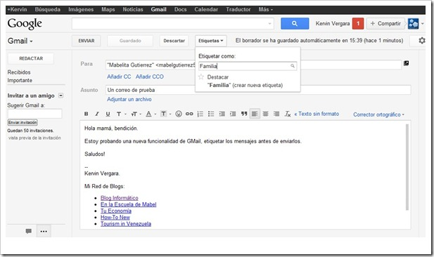 Etiquetar correo antes de enviar - GMail