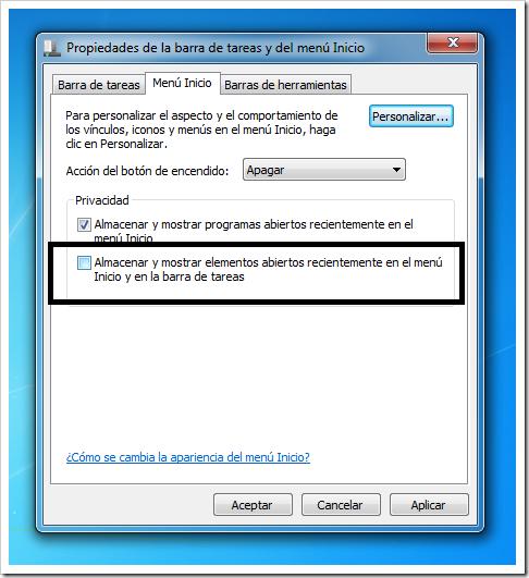 Eliminar historial de Windows 7 - 3