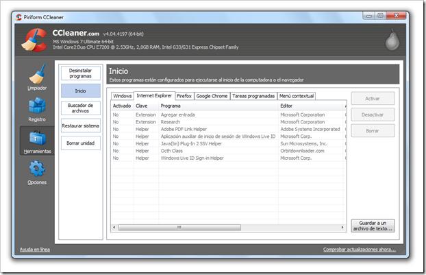 Desactivar extensiones de Internet Explorer CCleaner