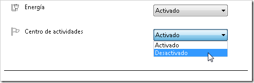 Desactivar centro de actividades.