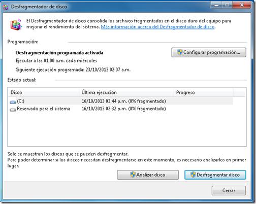 Desfragmentador de Windows.