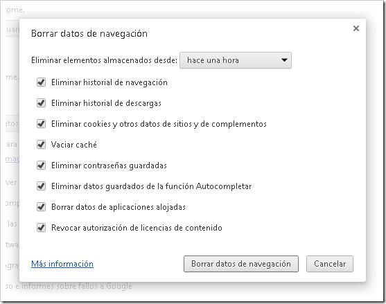 Eliminar datos de Chrome.