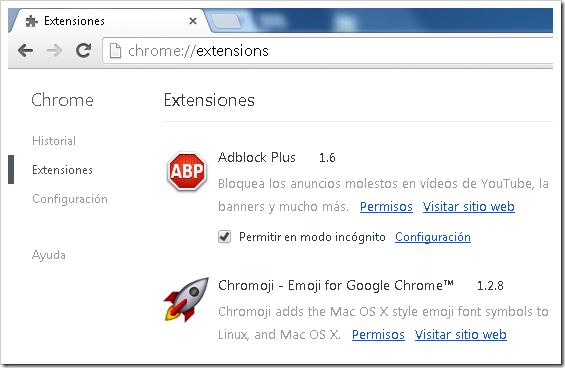 Extensiones de Chrome.