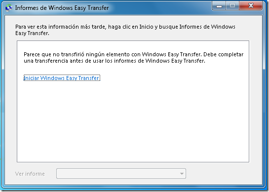 Informes de Easy Transfer.