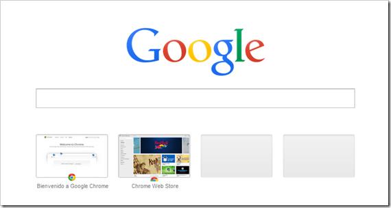 Nueva pestaña de Chrome.