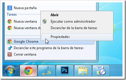 Propiedades de Chrome.