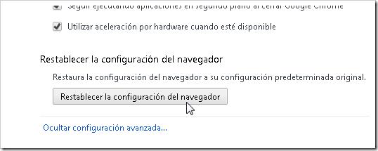 Restablecer Chrome.