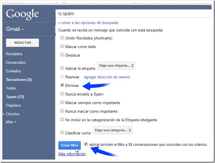 Configurar filtro en Gmail