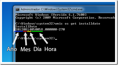 Fecha de instalacion de Windows via consola