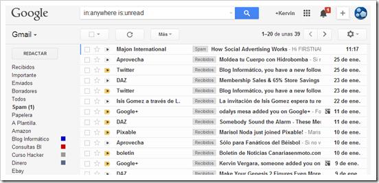 Correos no leídos en Gmail