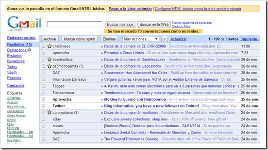 Mi bandeja de Entrada HTML