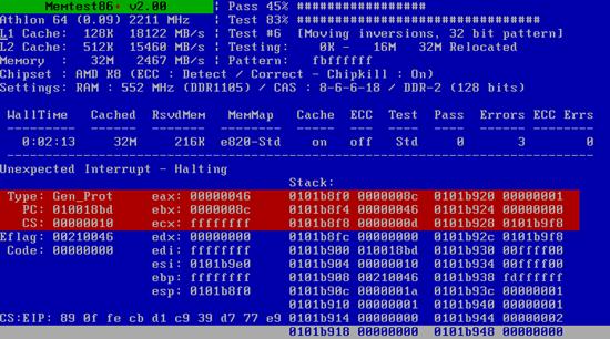 Memoria RAM dañada Memtest86
