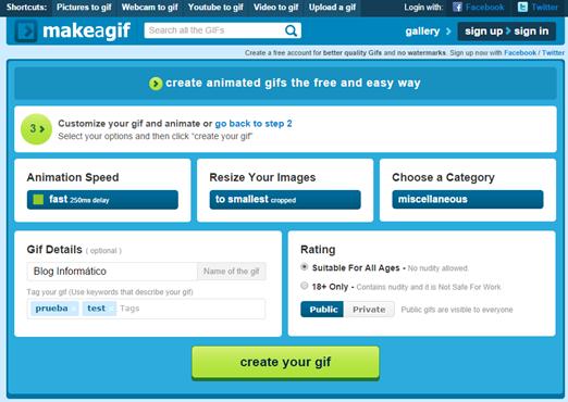 Creando GIF con Make a GIF