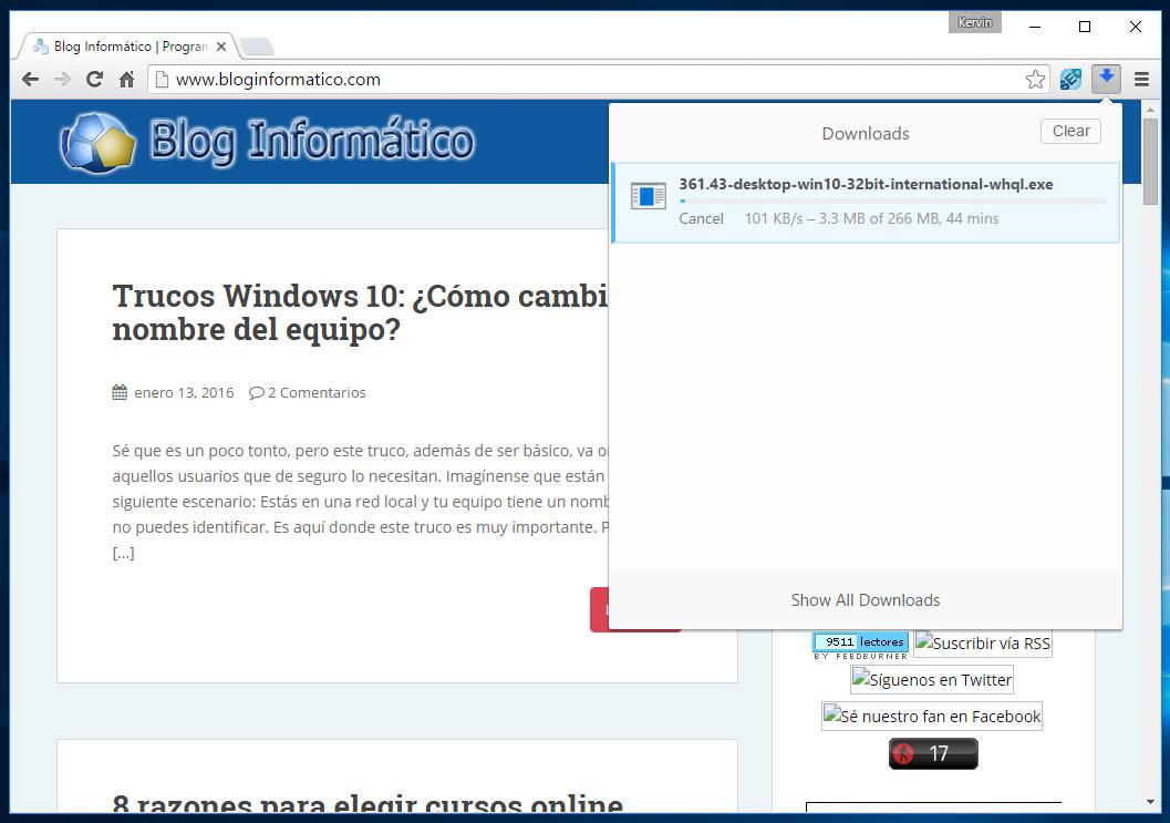 Downloads de Chrome