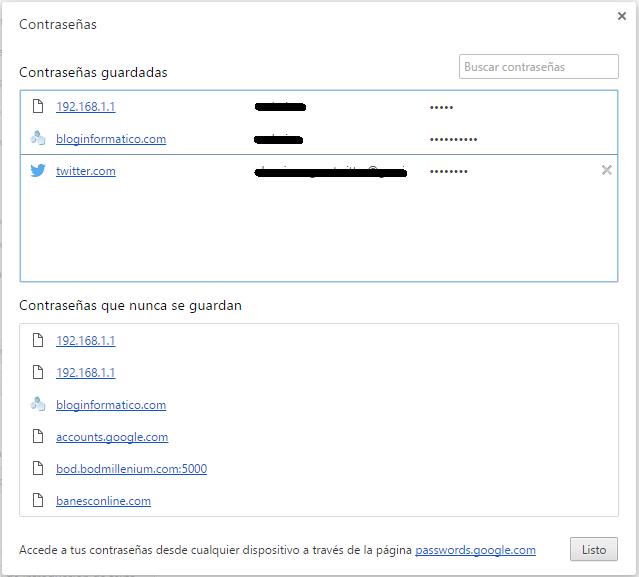 Contraseñas guardadas en Google Chrome