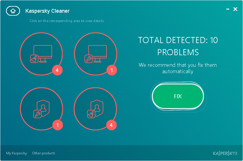 Kaspersky Cleaner - Problemas detectados