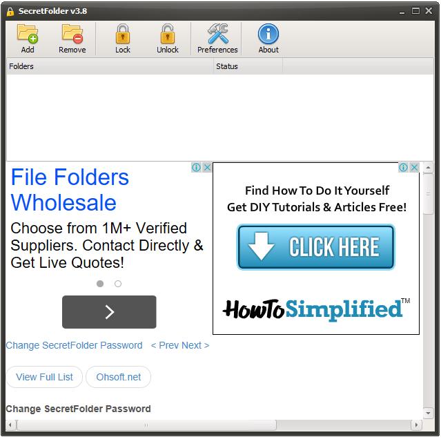 Secret Folder - Interfaz principal