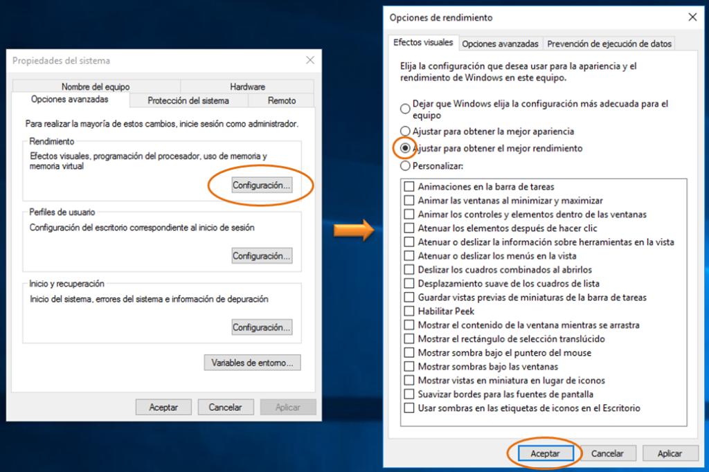 Deshabilitar efectos visuales en Windows 10