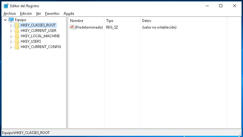 Editor del registro de Windows