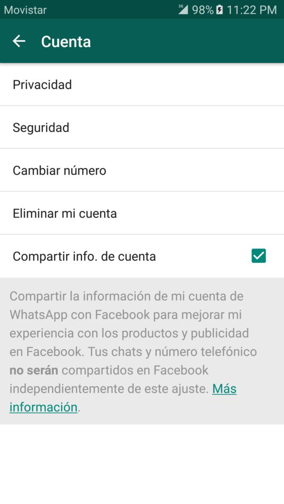 WhatsApp - Desactivar compartir teléfono en Facebook 1