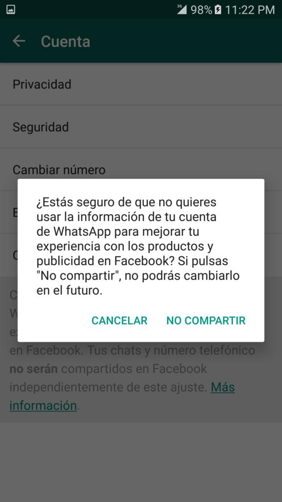 WhatsApp - Desactivar compartir teléfono en Facebook 2